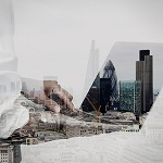 44709544 - double exposure of businessman working on his laptop in office with london city background
